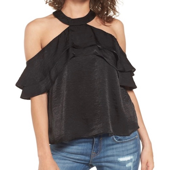 14dcbfee6c472c NWT Chloe   Katie Ruffle Cold Shoulder Top XS